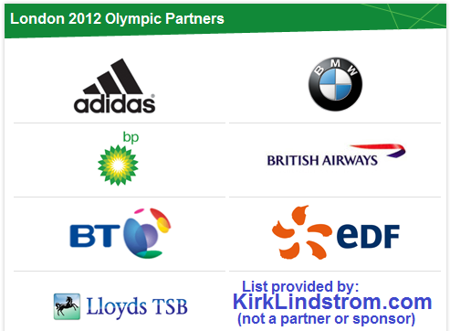Official 2012 London Olympic Sponsors List
