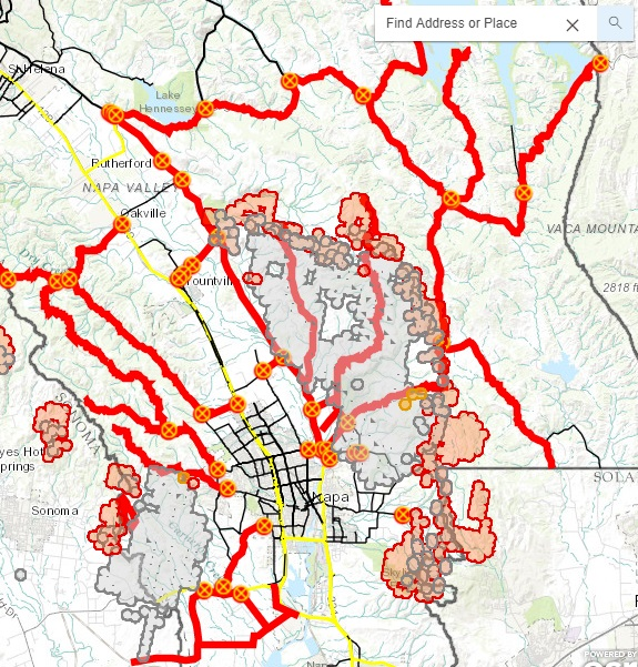 Active Fire Incident Map For Napa County